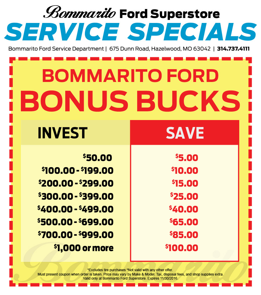 Bommarito ford coupons for Ford motor service coupons