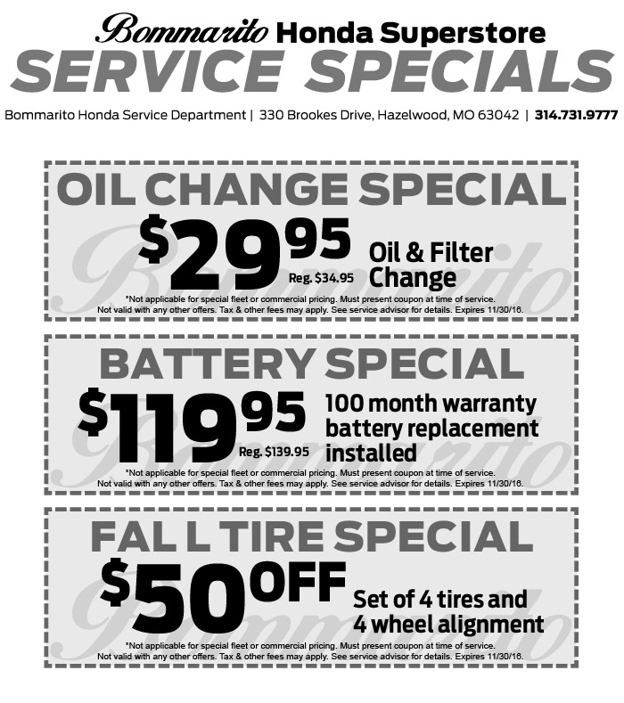 Grappone honda service coupons